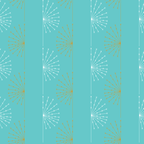 Dandelion on blue fabric by sary on Spoonflower - custom fabric