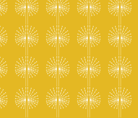 Dandelion on yellow fabric by sary on Spoonflower - custom fabric