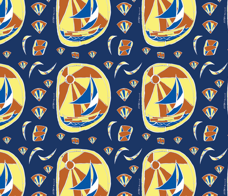 Art deco sailboat fabric by nicolaclare on Spoonflower - custom fabric