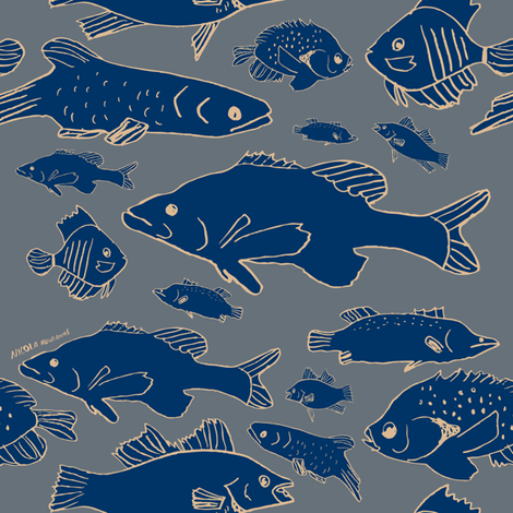 In the Blue fabric by nicolaclare on Spoonflower - custom fabric