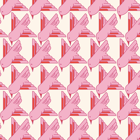 BIRD_PINK fabric by natasha_k_ on Spoonflower - custom fabric