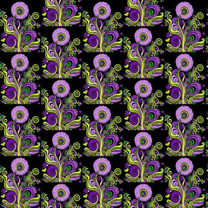 black_flower_green_and_purple