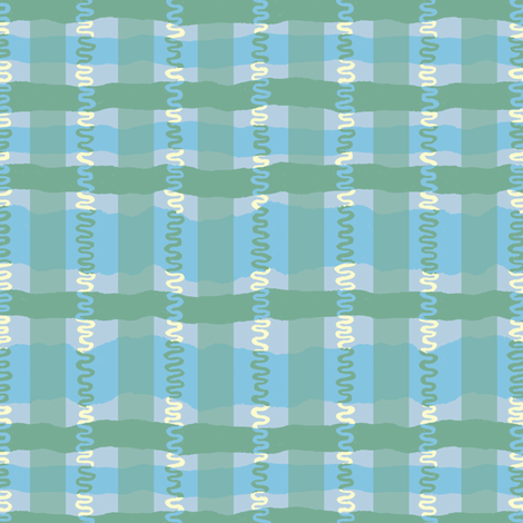 Squiggle Plaid- Cool Colorway fabric by gsonge on Spoonflower - custom fabric