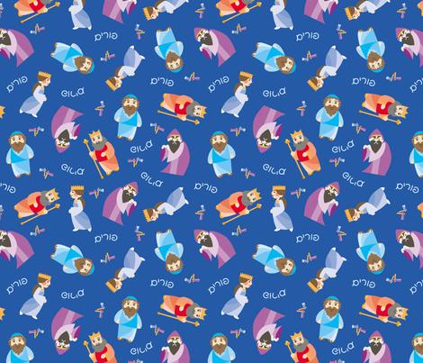 Kawaii Purim on Blue fabric by pkfridley on Spoonflower - custom fabric
