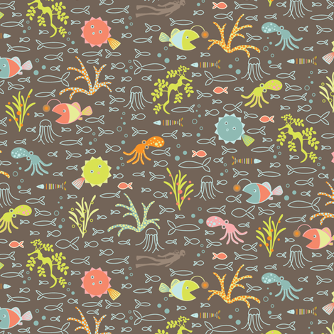 Itsy Bitsy Sea Beasts fabric by kayajoy on Spoonflower - custom fabric