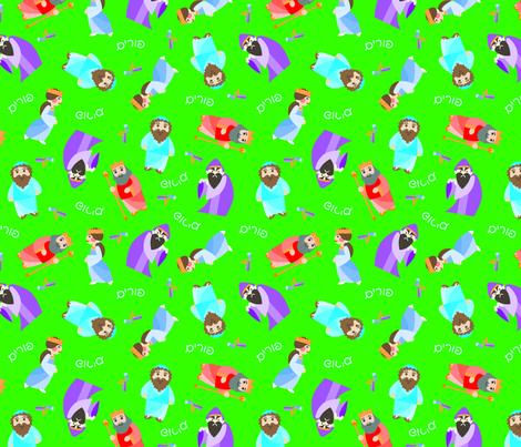 Kawaii Purim on Green fabric by pkfridley on Spoonflower - custom fabric