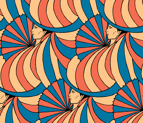 deco woman fabric by zandloopster on Spoonflower - custom fabric