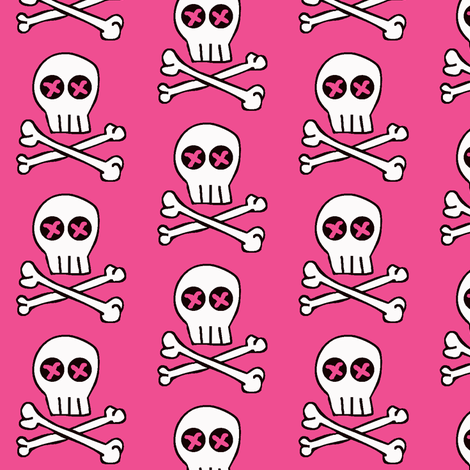 Skully / pink fabric by paragonstudios on Spoonflower - custom fabric