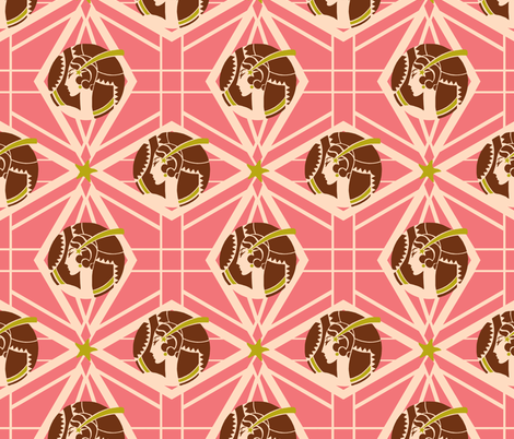 Thoroughly Modern Lady in Pink with gold fabric by miart on Spoonflower - custom fabric