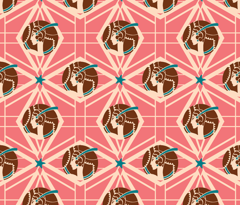 Thoroughly Modern Lady In Pink with Blue fabric by miart on Spoonflower - custom fabric