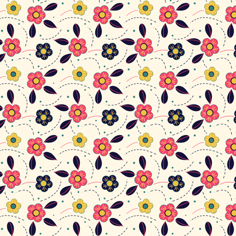 Pink Yellow and Blue Folksy Flower fabric by eppiepeppercorn on Spoonflower - custom fabric