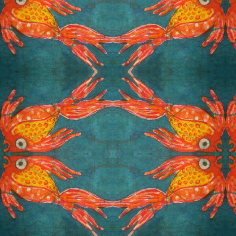 kate's fish batik, mirror repeat fabric by hooeybatiks on Spoonflower - custom fabric
