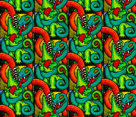 Yeah But You're Both Still Reptiles! fabric by kvowinckel on Spoonflower - custom fabric