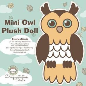 Mini Retro Owl Plush Doll