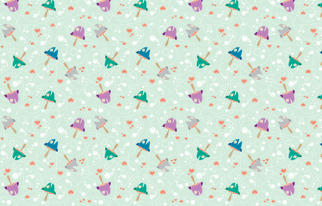 I Heart Fish Heads  fabric by kukubee on Spoonflower - custom fabric