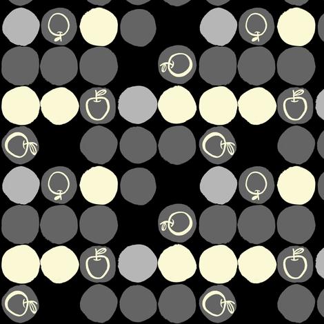 black_gray_apples fabric by gsonge on Spoonflower - custom fabric
