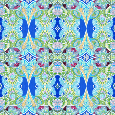 Blue Skies, Green Caterpilars fabric by edsel2084 on Spoonflower - custom fabric