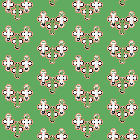 Deco dresses on green fabric by cnarducci on Spoonflower - custom fabric