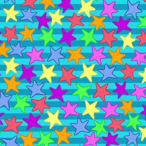 Colorful Starfishes fabric by milimari on Spoonflower - custom fabric