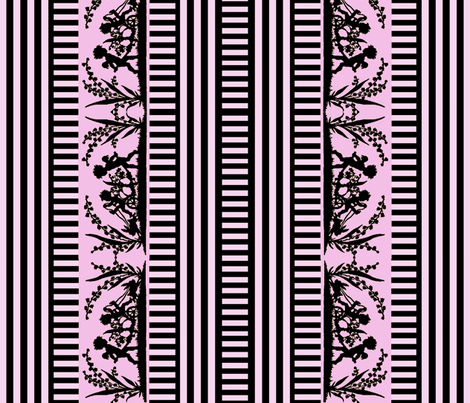 Victorian Silhouette Border in Pink and Black fabric by whimzwhirled on Spoonflower - custom fabric
