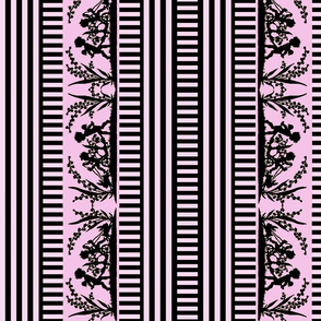 Victorian Silhouette Border in Pink and Black