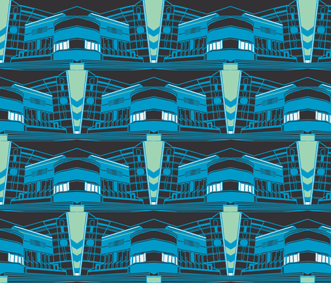 Art Deco Rivoli Repeat -  Blue-Dark-ch fabric by upcyclepatch on Spoonflower - custom fabric
