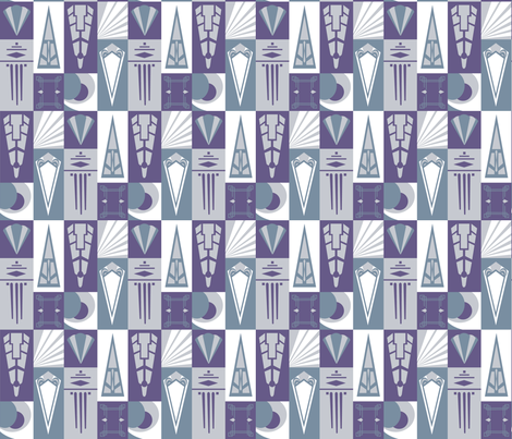 Artdeco silverware - purple fabric by marimia on Spoonflower - custom fabric