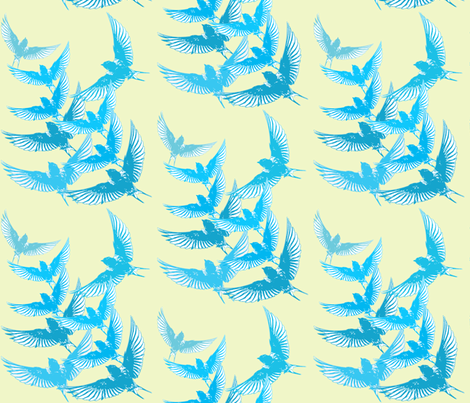 Blue Birds Birds Barn Swallows Flight fabric by theartfulhorse on Spoonflower - custom fabric