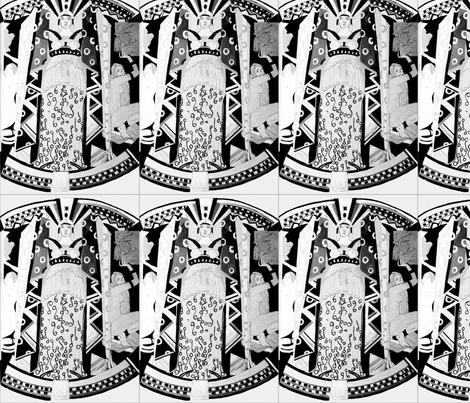 Black and White Deco Lady fabric by bettinablue_designs on Spoonflower - custom fabric