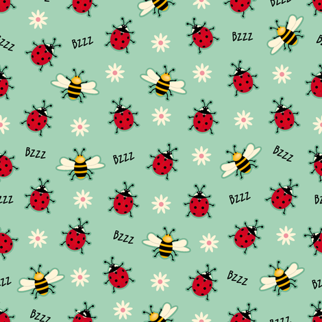 Ladybugs bees fabric by cassiopee on Spoonflower - custom fabric
