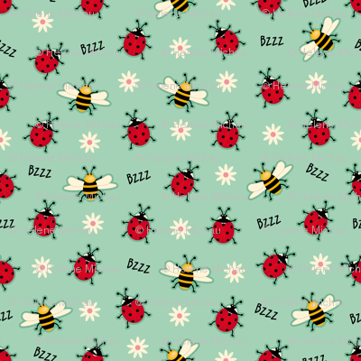 Ladybugs & Bees-Green