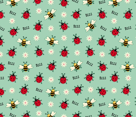 Ladybugs & Bees-Green fabric by cassiopee on Spoonflower - custom fabric