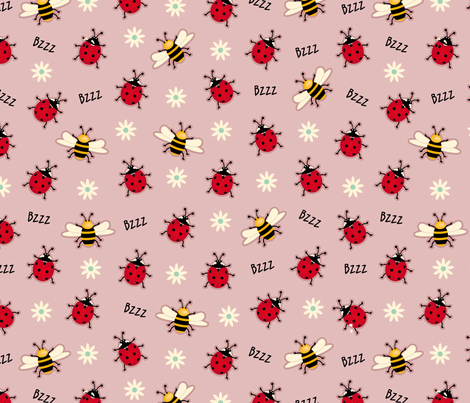 Ladybugs & Bees-Pink  fabric by cassiopee on Spoonflower - custom fabric