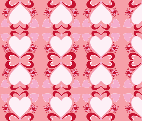 Heart Deco  (Art Deco Valentine) blush fabric by fabricfarmer_by_jill_bull on Spoonflower - custom fabric