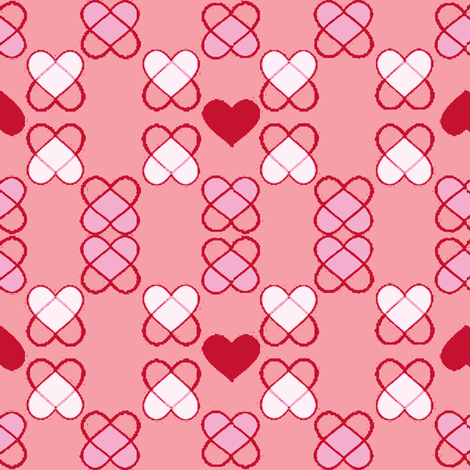 Argyle Hearts blush fabric by palmrowprints on Spoonflower - custom fabric