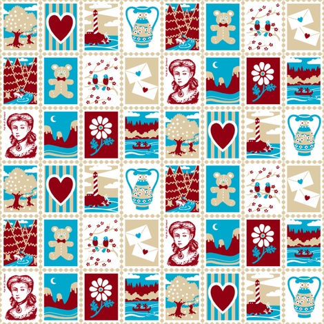 Love Letter Postage Stamps fabric by siya on Spoonflower - custom fabric