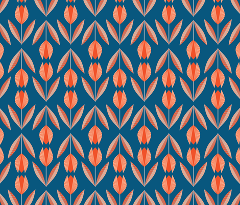 Tangerine Tulips on Blue fabric by gracedesign on Spoonflower - custom fabric