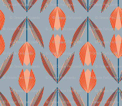 Tangerine Tulips on Gray