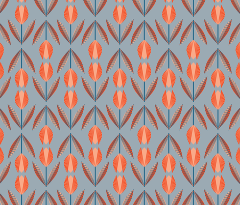 Tangerine Tulips on Gray fabric by gracedesign on Spoonflower - custom fabric