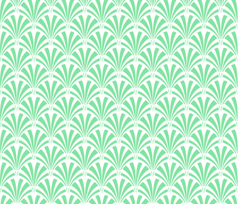 Art Deco Palm Leaf - Deco Green fabric by tuppencehapenny on Spoonflower - custom fabric
