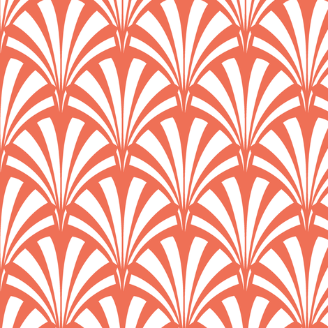 Art Deco Palm Leaf - Sunrise fabric by tuppencehapenny on Spoonflower - custom fabric