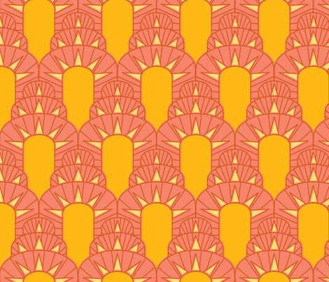 Art Deco Sun Scales fabric by leighr on Spoonflower - custom fabric