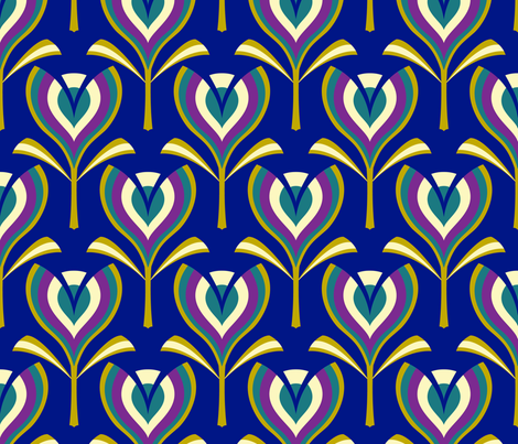 Deco tulips - blue fabric by coggon_(roz_robinson) on Spoonflower - custom fabric