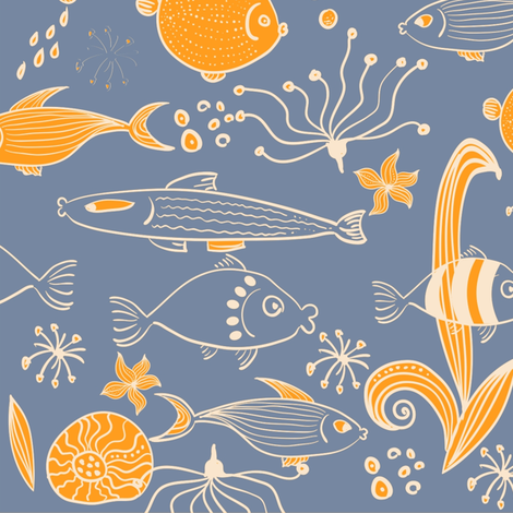 fish underwater fabric by anastasiia-ku on Spoonflower - custom fabric