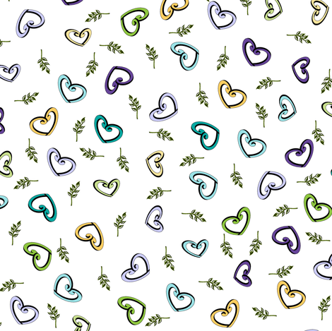Peace Hearts  -  White fabric by inscribed_here on Spoonflower - custom fabric