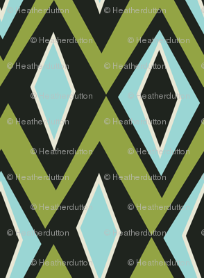 Diamant - Retro Geometric Green Blue & Black