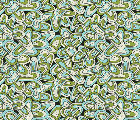 Just Swell - Abstract Geometric Green Black Aqua fabric by heatherdutton on Spoonflower - custom fabric