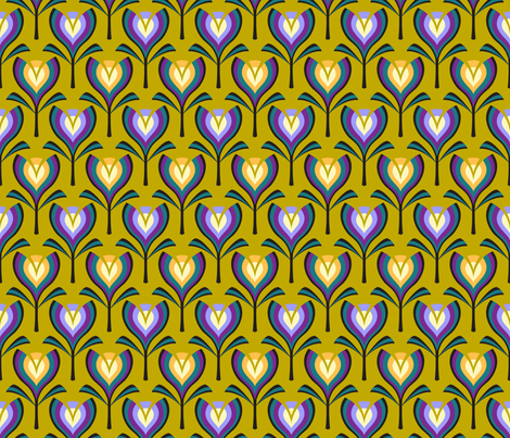 Deco tulips - mustard, gold and crocus fabric by coggon_(roz_robinson) on Spoonflower - custom fabric