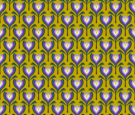 Deco tulips - mustard and crocus fabric by coggon_(roz_robinson) on Spoonflower - custom fabric