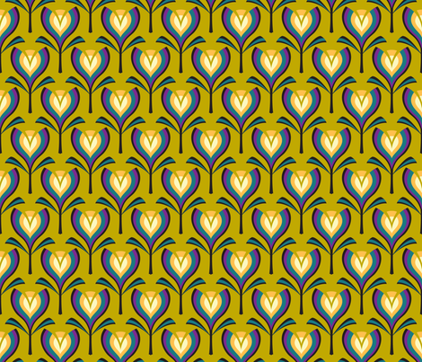 Deco tulips - mustard and gold fabric by coggon_(roz_robinson) on Spoonflower - custom fabric
